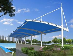 膜结构车棚钢结构拼装支架与尺寸的设置